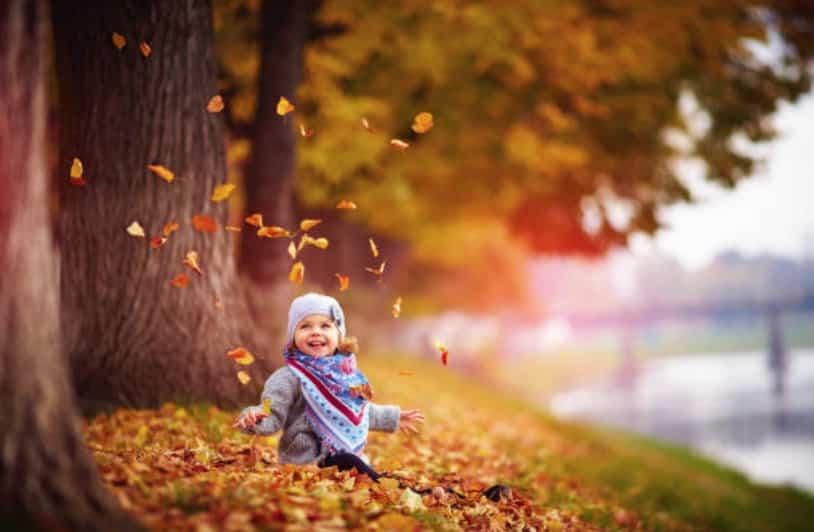 enfant bébé fille automne feuilles extérieur promenade