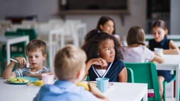 cantine enfant école manger self menu végétarien manger